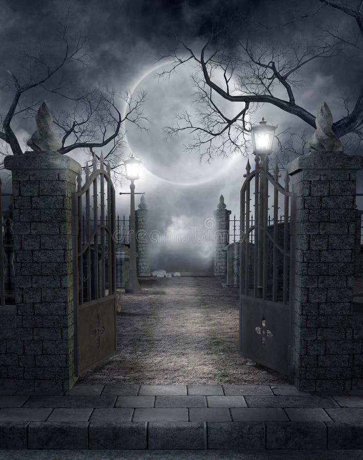 Gotisch kerkhof 3 royalty-vrije illustratie