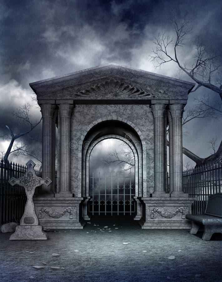 Gotisch kerkhof 4 royalty-vrije illustratie
