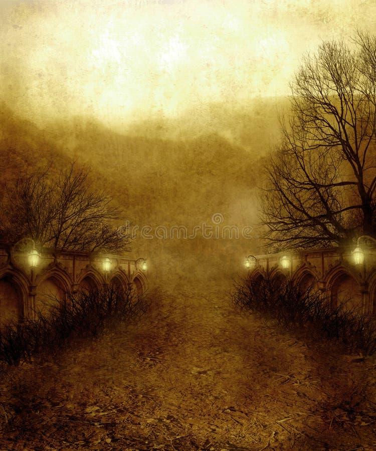 Gotisch landschap 07 stock illustratie