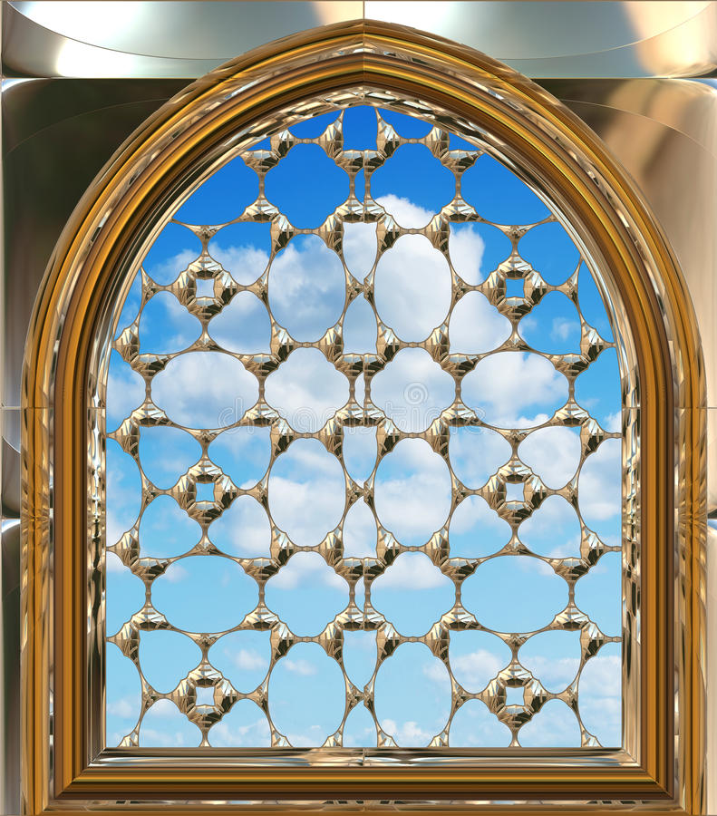 Gotisch of scifivenster met blauwe hemel stock illustratie
