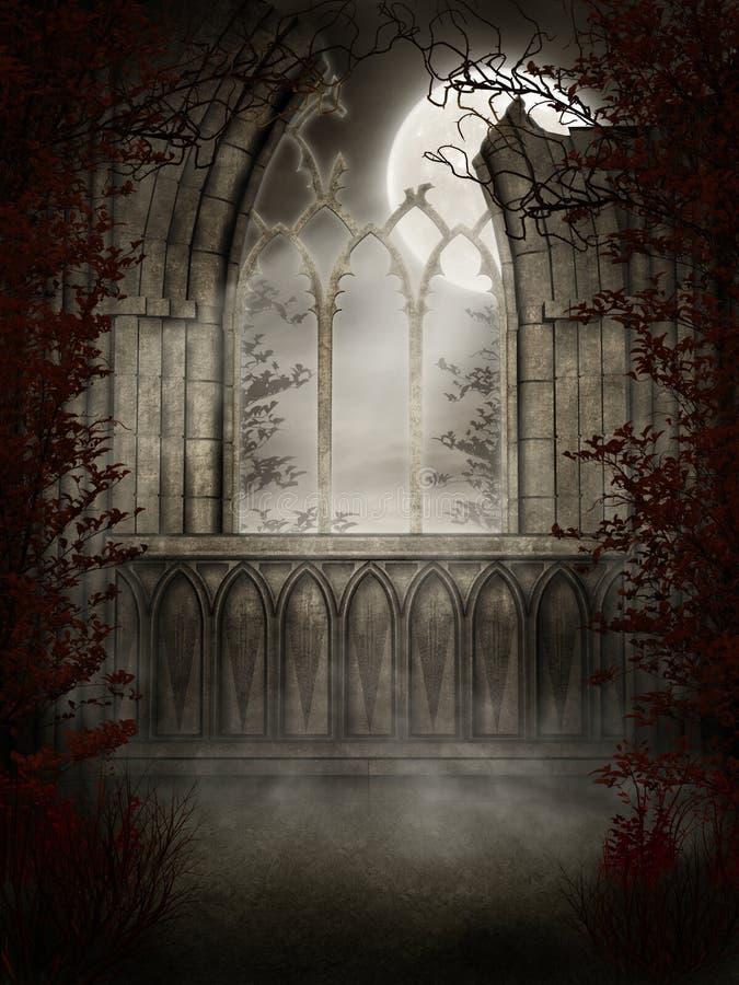 Gotisch venster met doornen vector illustratie