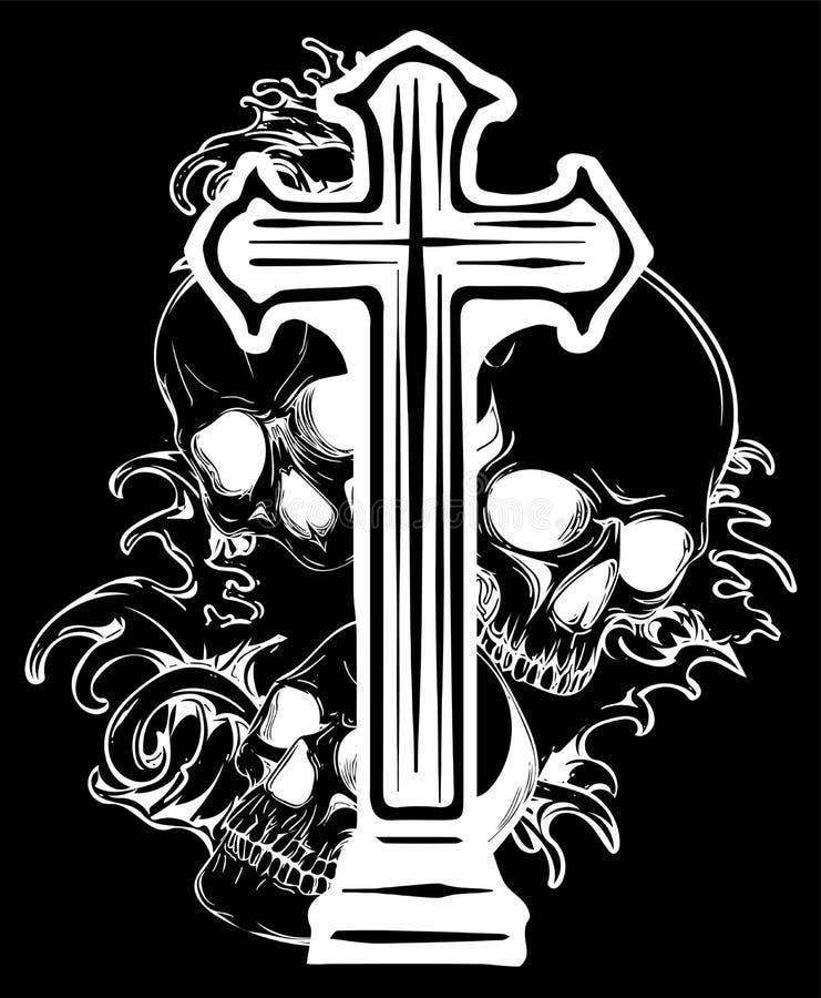 Gotisch wapenschild met schedel en Rozentuin, grunge wijnoogst royalty-vrije stock afbeelding