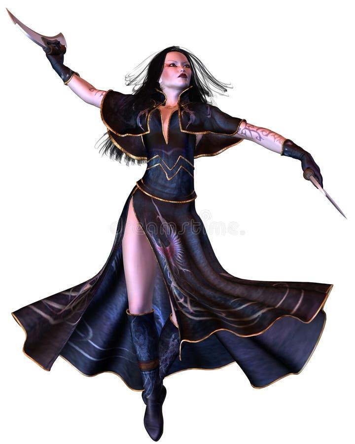 Gotische Bladedancer die - tolt royalty-vrije illustratie