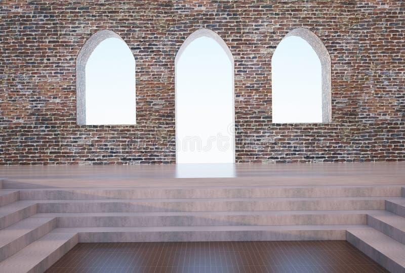 Gotische boog en bakstenen muur vector illustratie