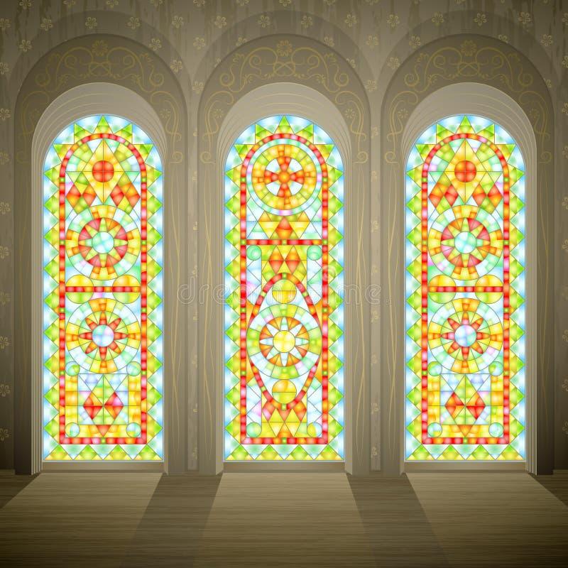Gotische Buntglasfenster der Kirche lizenzfreie abbildung