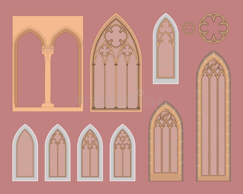 Gotische Fenster in Mitteleuropa stock abbildung