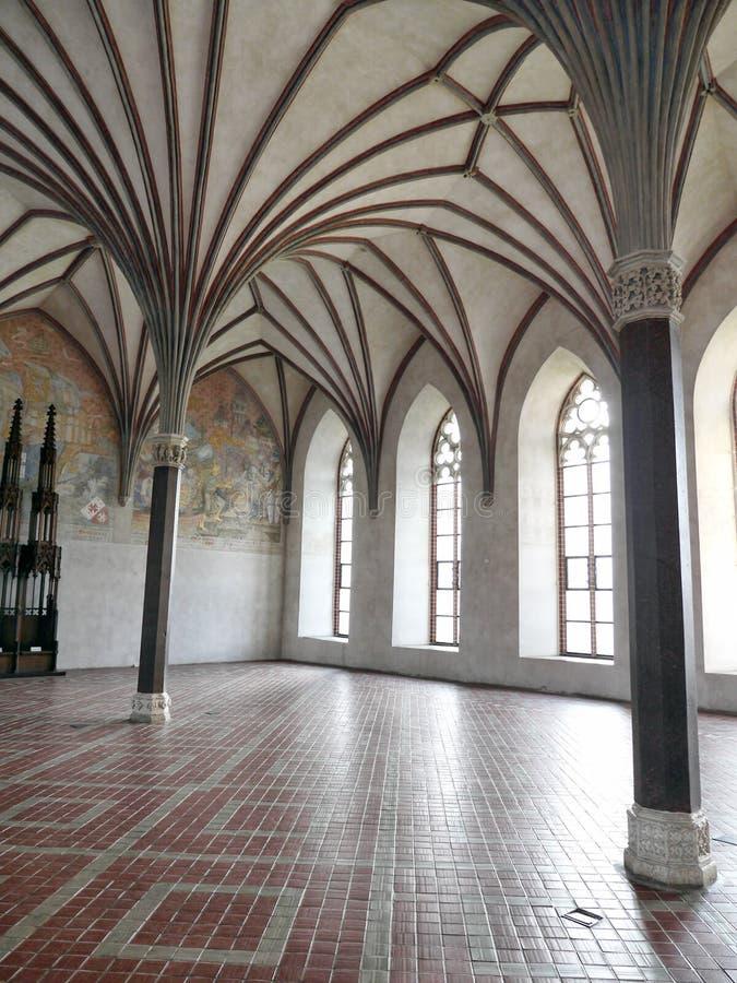 Gotische Grote Eetzaal, Malbork-kasteel, Polen stock afbeeldingen