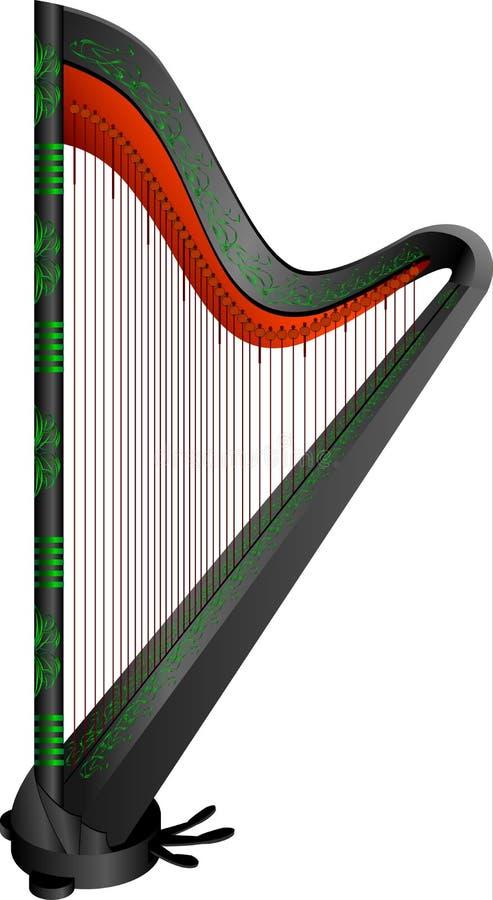 Gotische Harfe der Fantasie vektor abbildung