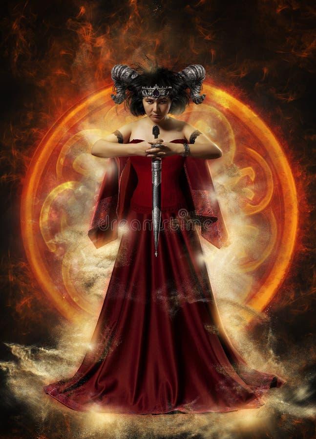 Gotische Königin im roten Kleid, das Magie tut stockfotos
