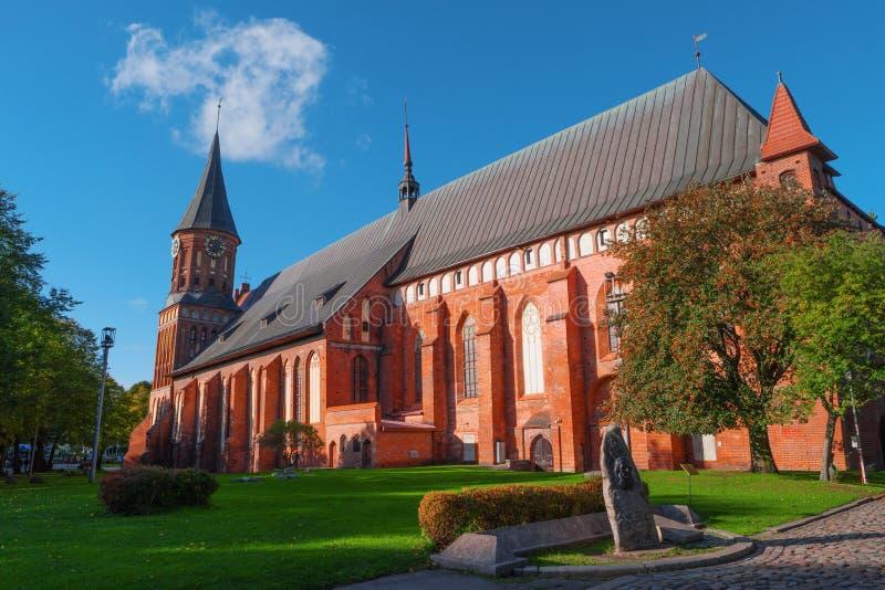 Gotische kathedraal, Kant Island, Kaliningrad, Rusland stock afbeelding