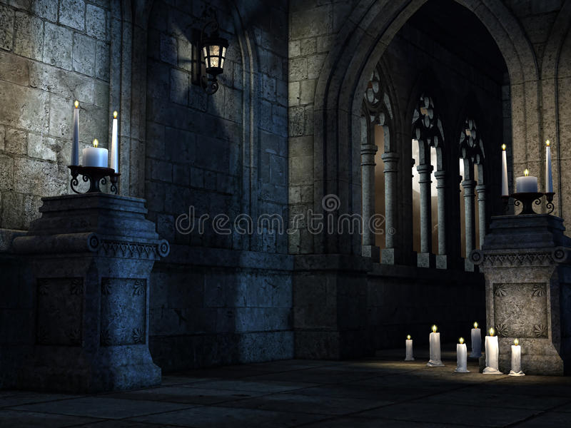 Gotische kerk met kaarsen royalty-vrije illustratie