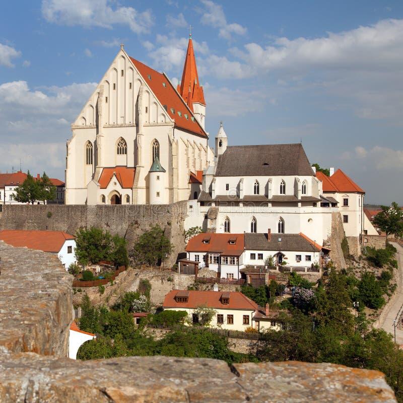 Gotische Kirche von Sankt Nikolaus, Znojmo, Tschechische Republik lizenzfreie stockfotos