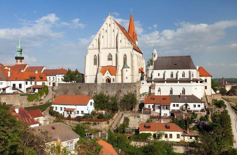 Gotische Kirche von Sankt Nikolaus, Znojmo, Tschechische Republik lizenzfreies stockbild
