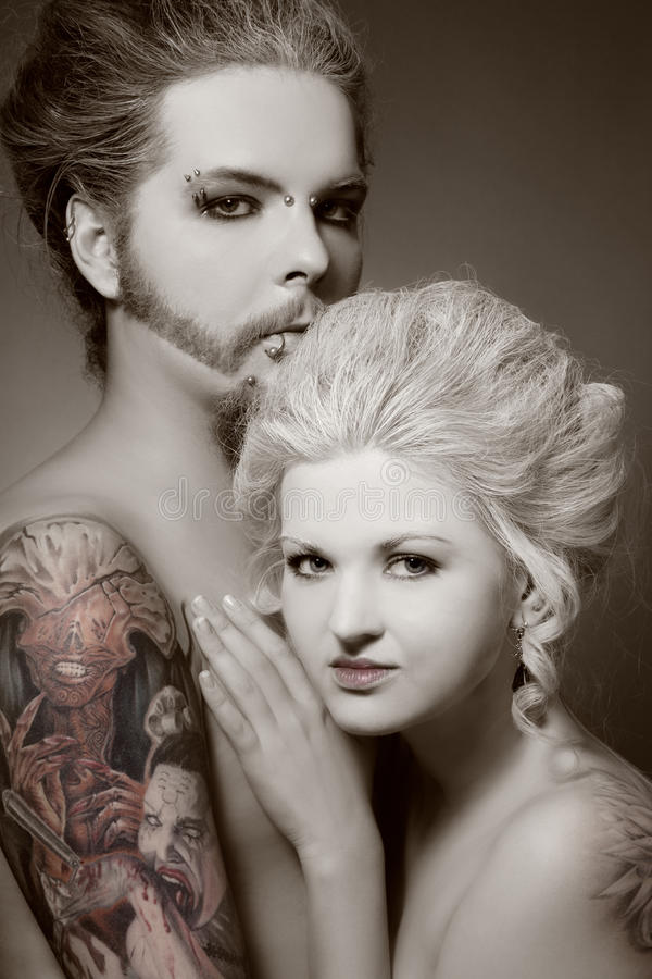Gotische Paare stockbild