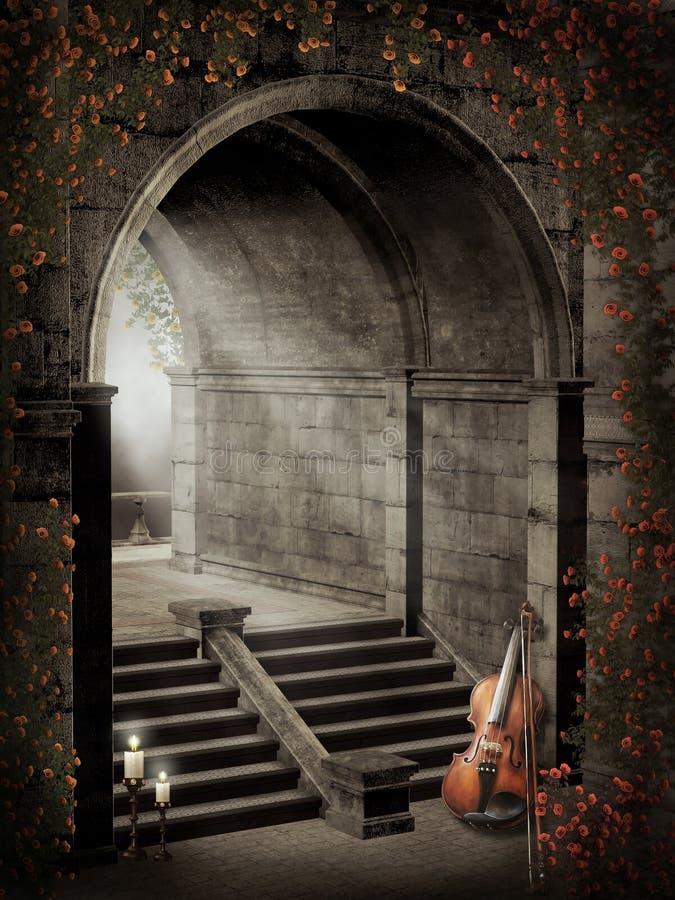 Gotische poort met rozen vector illustratie