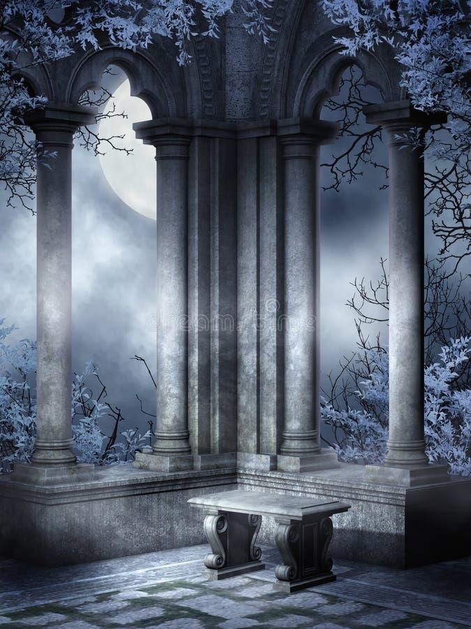 Gotische Ruinen mit einer Bank lizenzfreie abbildung