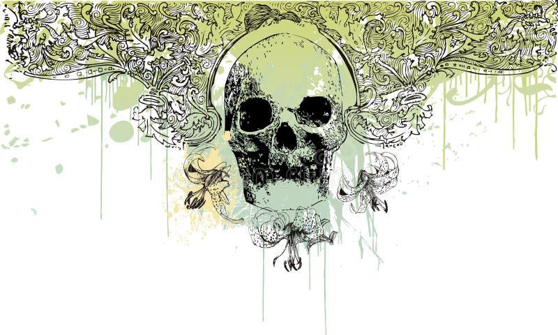 Gotische schedelillustratie vector illustratie