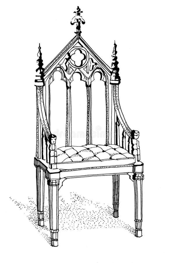 Stuhl gezeichnet  Gotische Stuhlhand Gezeichnet Stock Abbildung - Bild: 56114228