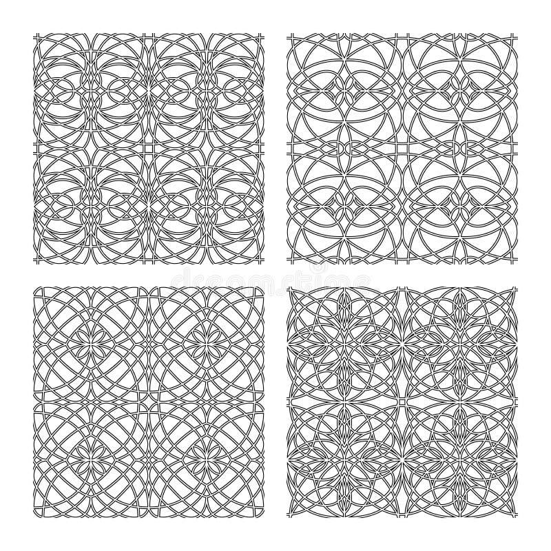4 gotische vectorpatronen stock afbeeldingen
