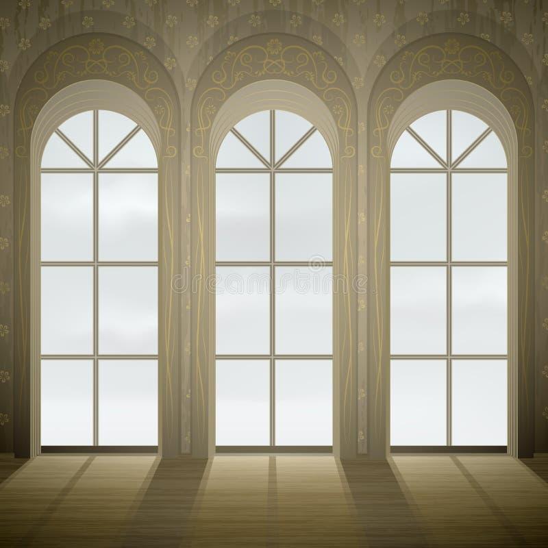Gotische vensters royalty-vrije illustratie