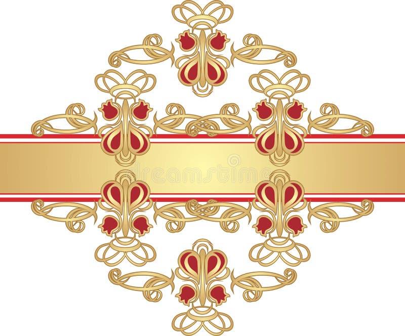 Gotische Verzierung auf dem Goldfarbband lizenzfreie abbildung