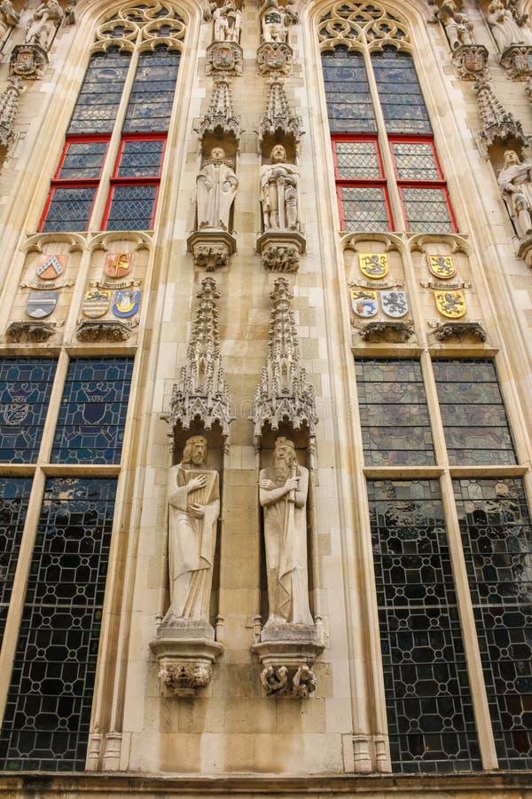 Gotische voorgevel Stadhuis Brugge belgië royalty-vrije stock afbeeldingen
