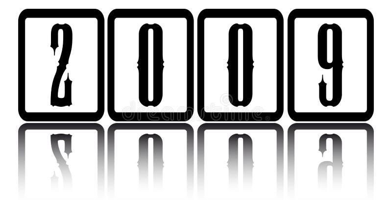 Gotische Zahlen des neuen Jahres in den Quadraten stock abbildung