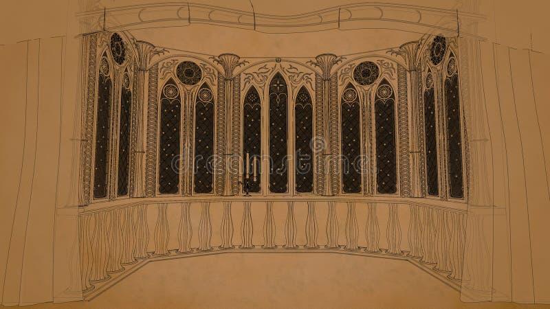 Gotischer Balkon im alten Schloss 3d übertragen Illustrationshintergrund lizenzfreie abbildung