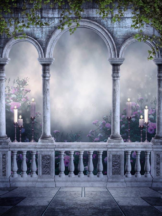 Gotischer Balkon mit Kerzen und Rosen stock abbildung