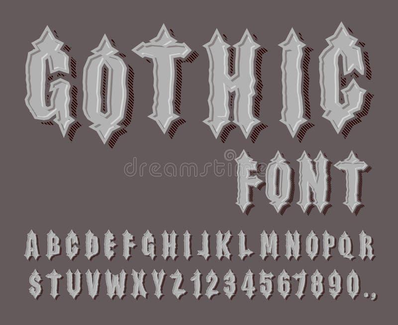 Gotischer Guss Mittelalterlicher Buchstabe und Stelle Ehrfürchtiges Alphabet Guss f lizenzfreie abbildung