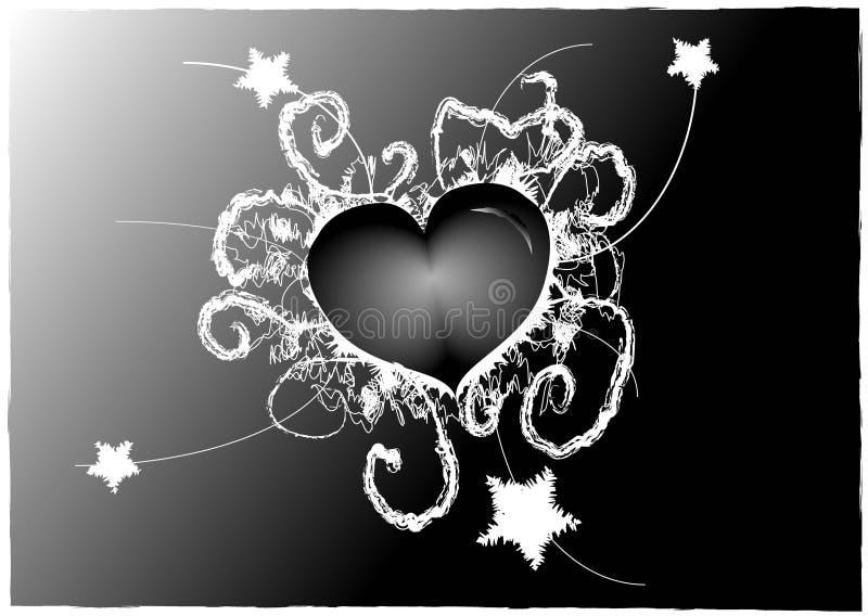 Gotischer Schwarzweiss-Valentinsgruß lizenzfreies stockbild
