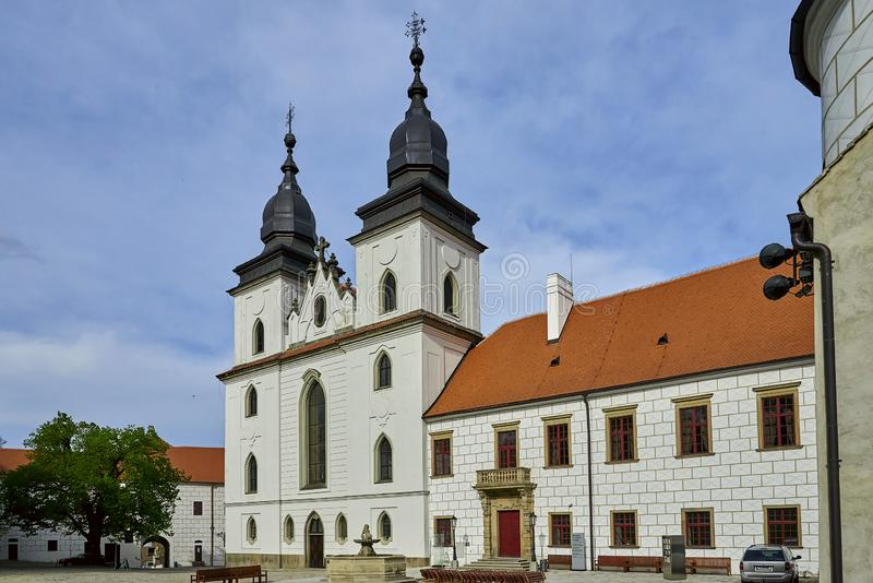 Gotisches Basilika Heiliges Procopius in Trebic, UNESCO-Standort stockbilder