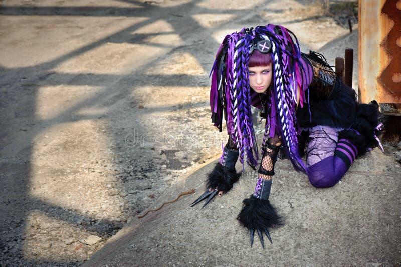 Gotisches Mädchen des Cyber stockfotos