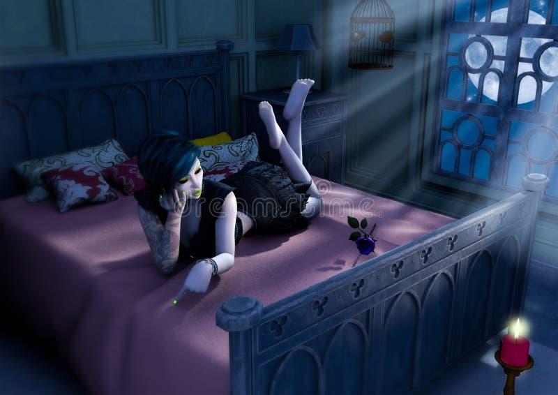 Gotisches Puppenmädchen legen in das Bett mit einem blauen hinaufkletternden Mond lizenzfreie abbildung