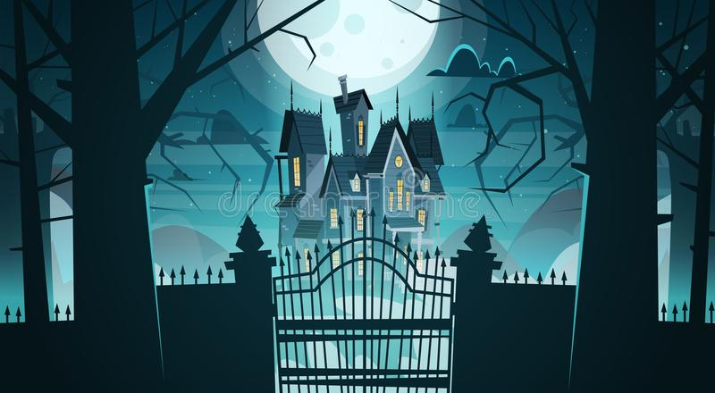 Gotisches Schloss hinter Toren im Mondschein-furchtsamen Gebäude stock abbildung