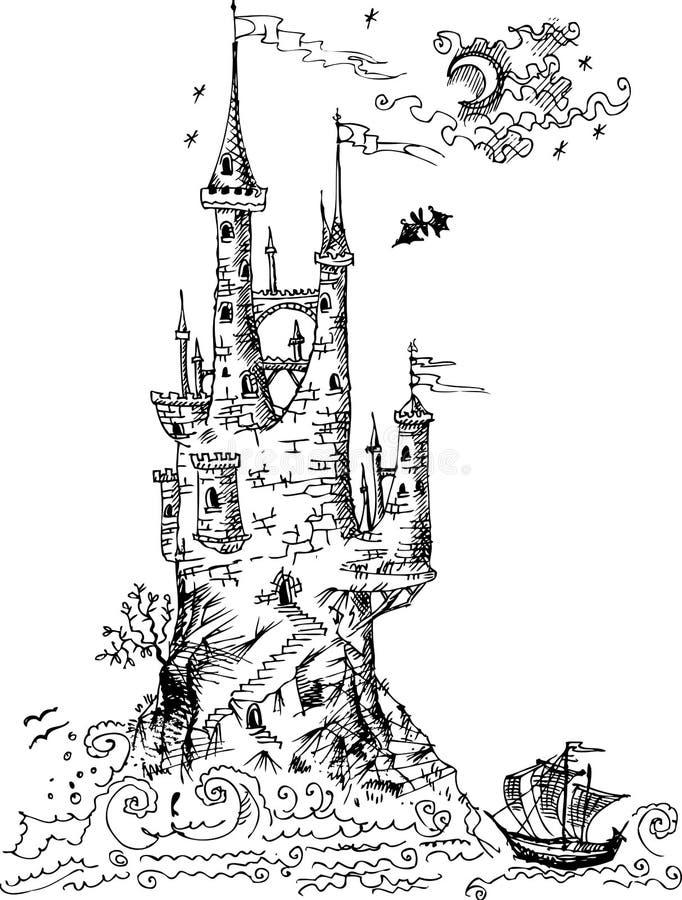 Gotisches Schloss von den Märchen lizenzfreie abbildung
