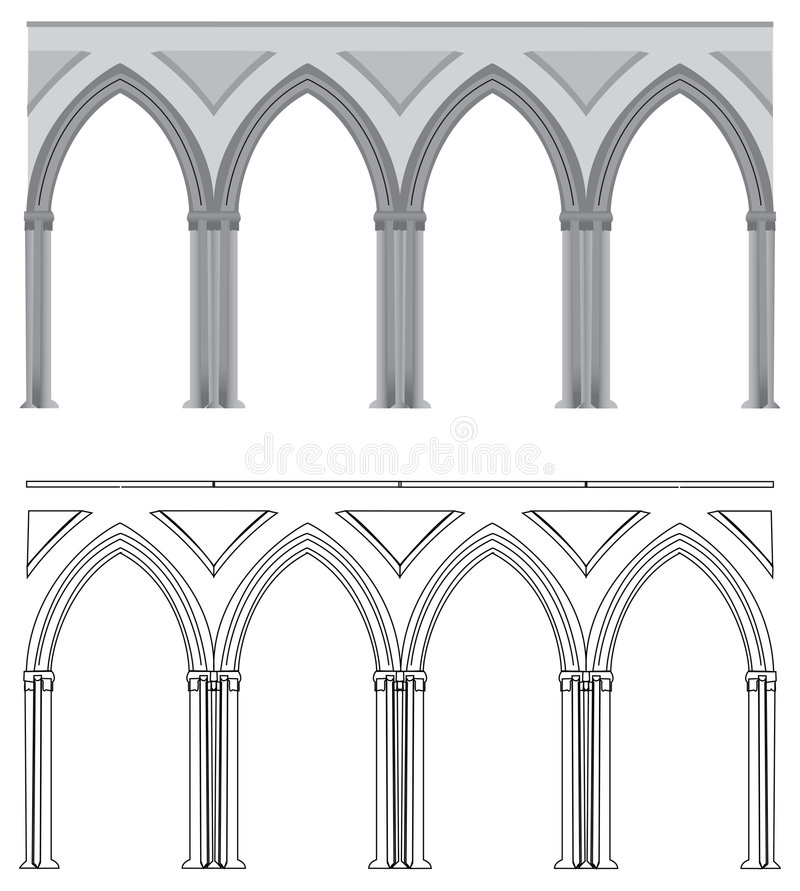 gotisk ärke- kolonn vektor illustrationer