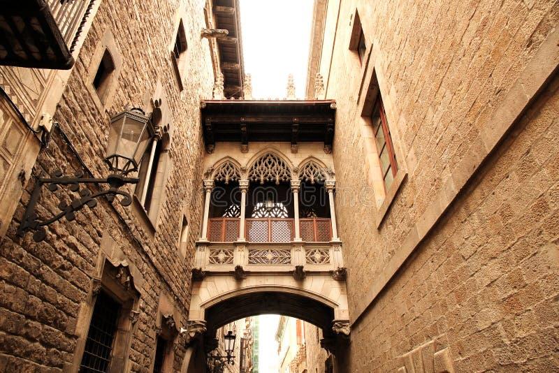 Gotisk arkitektur i Barcelona royaltyfria bilder