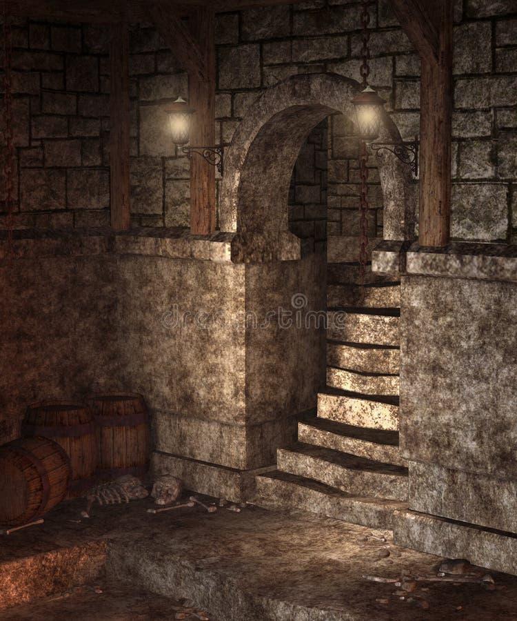 gotisk dungeon 2 stock illustrationer