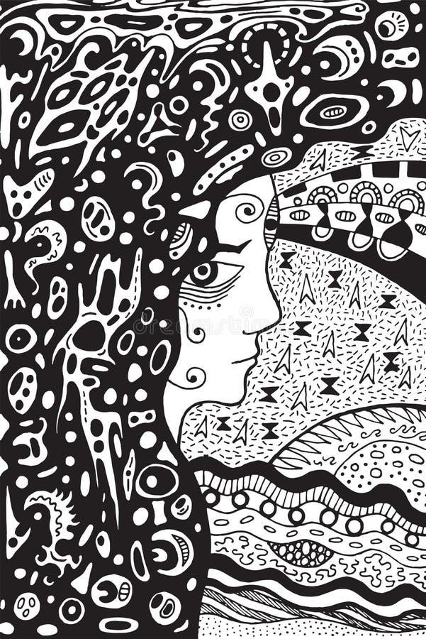 Gotisk flicka för ockult medicinman Forntida gudinna av månen klotter vektor illustrationer