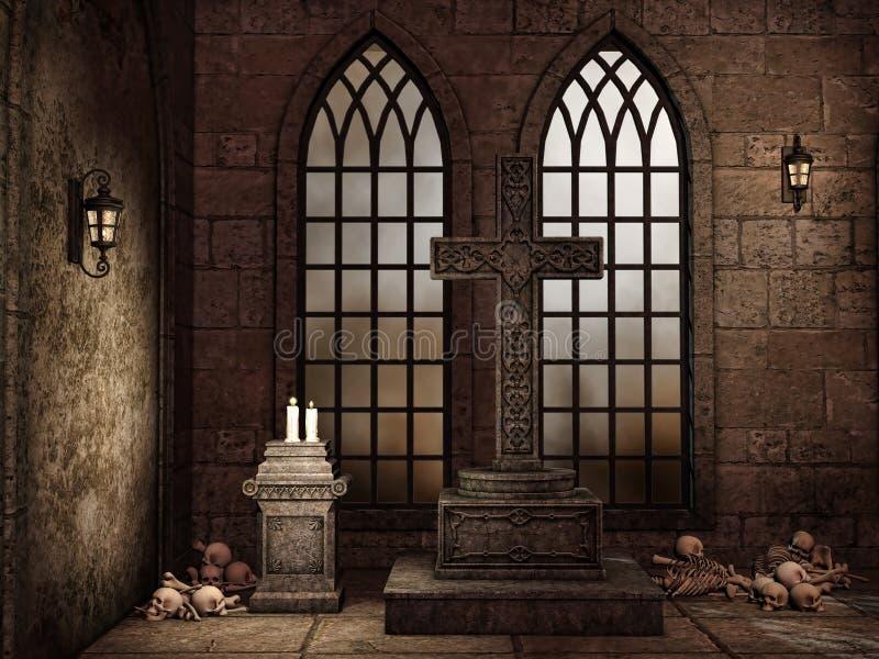 Gotisk krypta med ben royaltyfri illustrationer