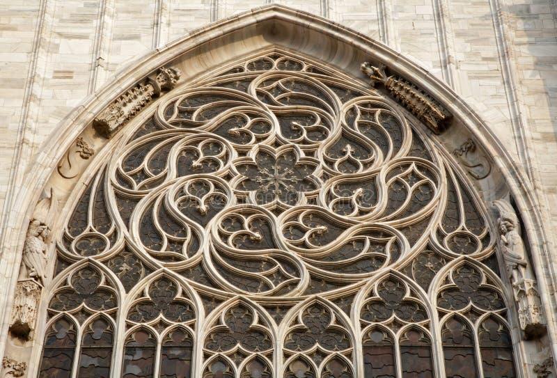 gotisk milan för domkyrka rosette arkivbilder