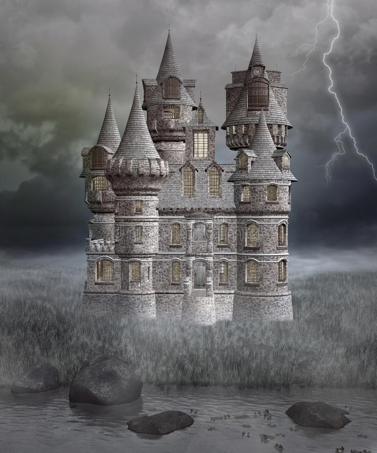 Gotisk mystisk slott vektor illustrationer