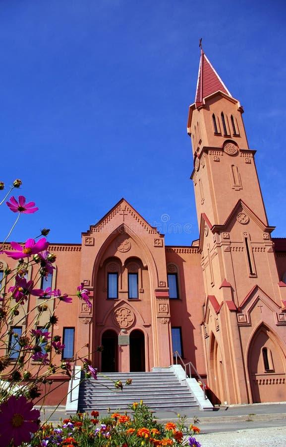 gotisk stil för kyrklig facade royaltyfri bild