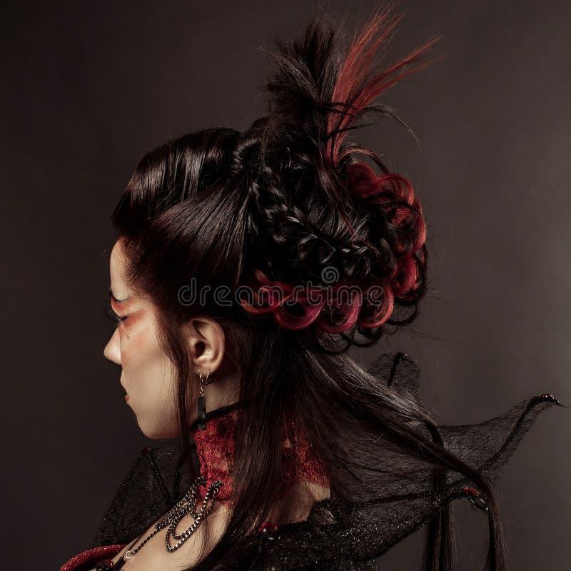 Gotisk stilmodell Girl Portrait fotografering för bildbyråer