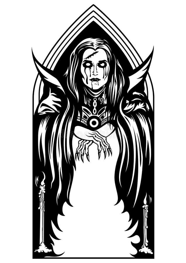 Gotisk vampyrbåge eller en ram royaltyfri illustrationer