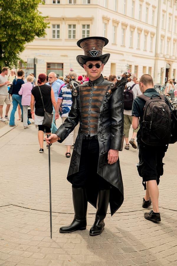 Gotiska Leipzig och steampankfestival i sommaren 2019 arkivbilder