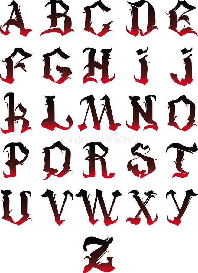Gotiskt alfabet royaltyfri illustrationer