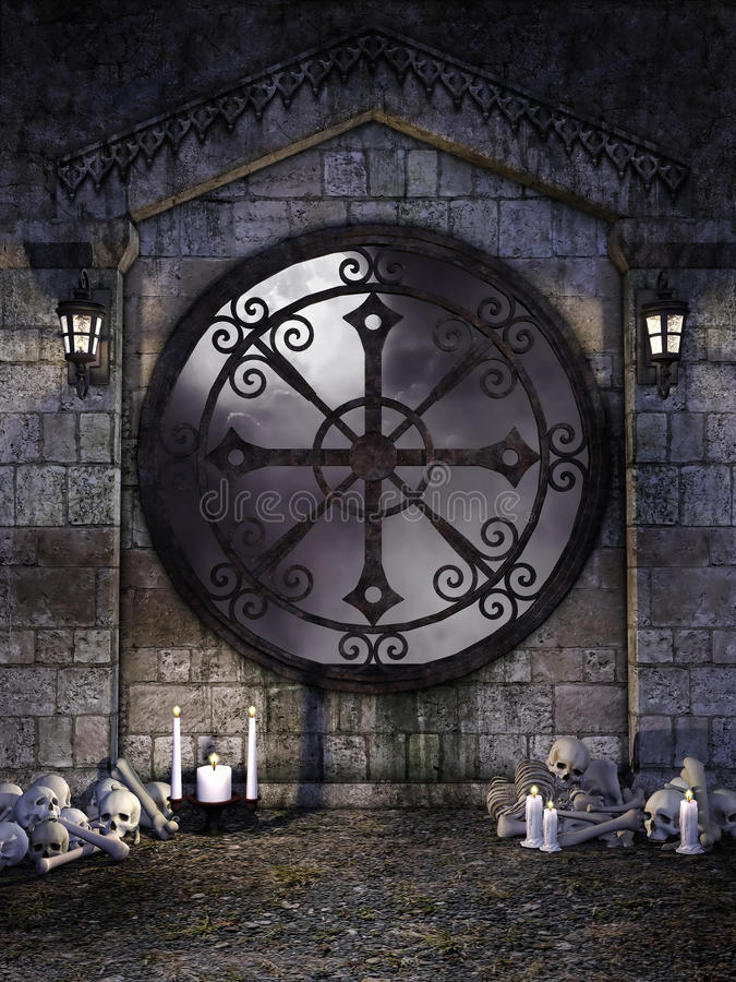 Gotiskt fönster med ben vektor illustrationer