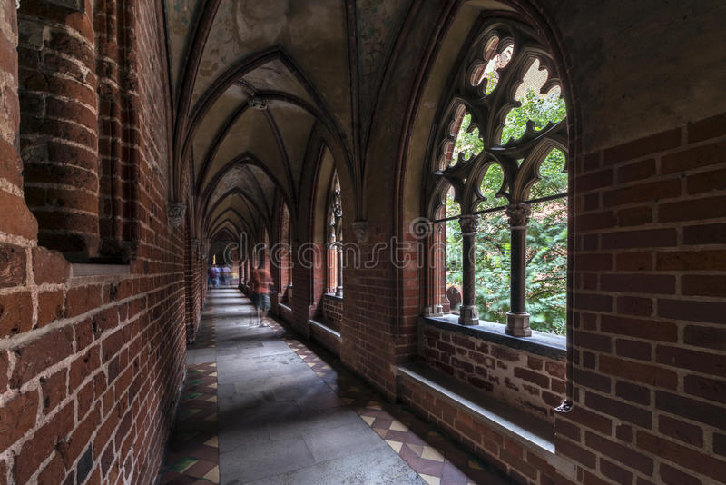 Gotiskt galleri i det Malbork slottet royaltyfri foto